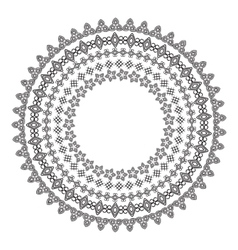 Monochromatic ethnic round ornamental vector