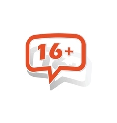 16 plus message sticker orange vector
