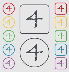 Number four icon sign symbols on the round and vector