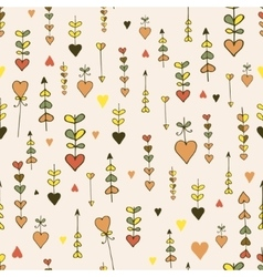 Autumn seamless hand-drawn heart pattern vector