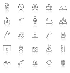 Trekking line icons with reflect on white vector