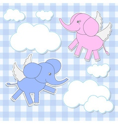 Babies-elephants angels vector