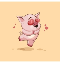 Isolated emoji character cartoon pig in love vector