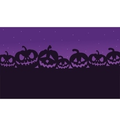 Silhouette of lined pumpkins vector