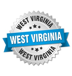 West virginia round silver badge with blue ribbon vector
