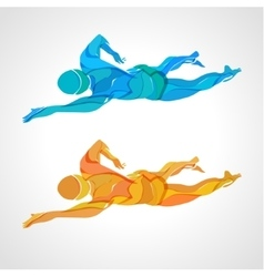 Freestyle swimmer color silhouette sport swimming vector
