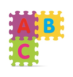 Abc written with alphabet puzzle vector