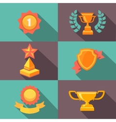 Awards and trophy icons flat vector