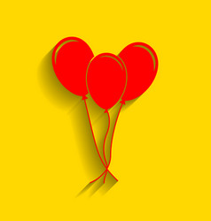Balloons set sign red icon with soft vector