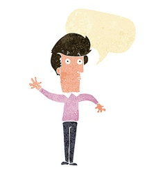 Cartoon nervous man waving with speech bubble vector