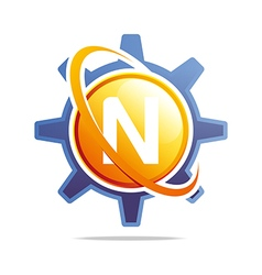 circle globe gear letter n orange abstract vector image