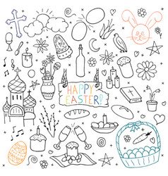 collection of happy easter elements hand drawn vector image