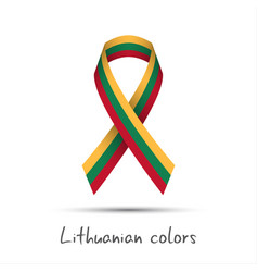 Colored ribbon with the lithuanian tricolor vector