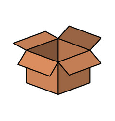 Colorful silhouette of box of cardboard opened vector
