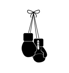 Contour boxing gloves hanging icon vector