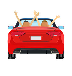 couple in car driving with arms raised vector image