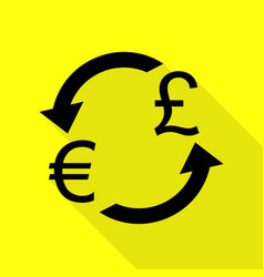 Currency exchange sign euro and uk pound black vector