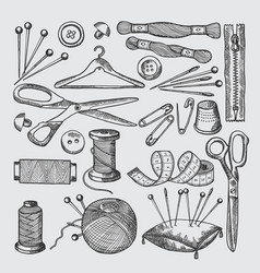different tools for sewing workshop vector image