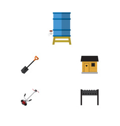 Flat icon dacha set of spade container grass vector