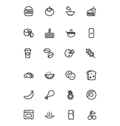 Food outline icons 3 vector