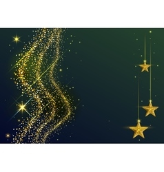 Gold dust wave and yellow stars new year vector
