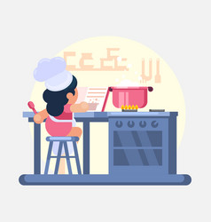 happy little funny girl cook chef helping cooking vector image