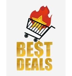 Hot best deals shopping cart vector