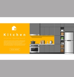 Interior design modern kitchen background 5 vector