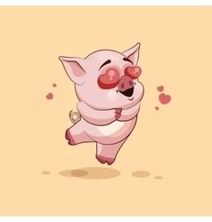 Isolated emoji character cartoon pig in love vector