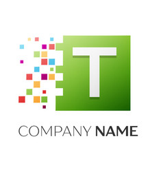 Letter t symbol in the colorful square vector