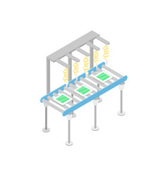 modern mechanical conveyor isometric 3d icon vector image