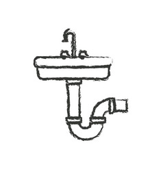 Monochrome blurred silhouette of washbasin and vector