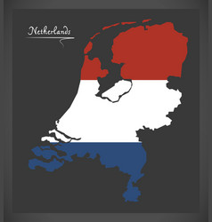 netherlands map with dutch national flag vector image