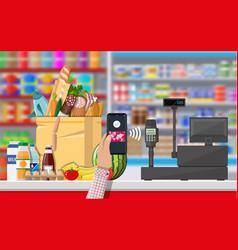 Nfc payment in supermarket vector