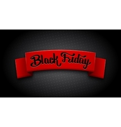 Realistic red ribbon for black friday sale vector