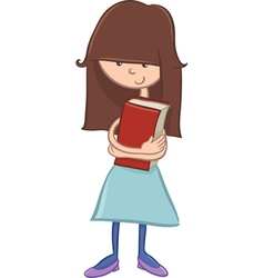 school girl character with book vector image vector image
