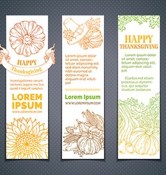 Set of doodles colourful thanksgiving banners vector