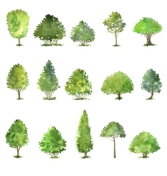 Set of trees drawing by watercolor vector