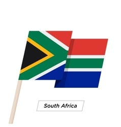 South africa ribbon waving flag isolated on white vector