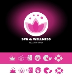 Spa wellness lotus flower logo icon vector