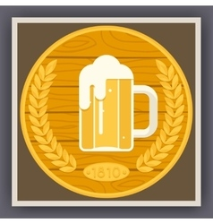Symbol Mug of Beer with Foam Icon on Stylish Gold vector image vector image