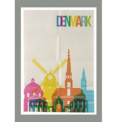 Travel Denmark landmarks skyline vintage poster vector image