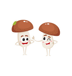 Two mushroom characters one winking another vector