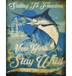 Vintage sailing poster tee graphic design vector