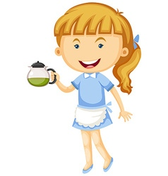 Waitress holding pot of tea vector image vector image