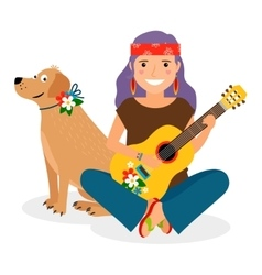 Hippie Girl with Guitar and Dog vector image