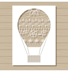 Stencil template of air balloon on wooden vector