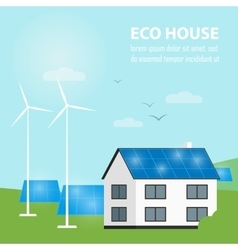 Eco house banner Sun and wind energy generation vector image
