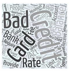 A bad credit credit card word cloud concept vector