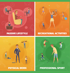 Physical activity compositions set vector